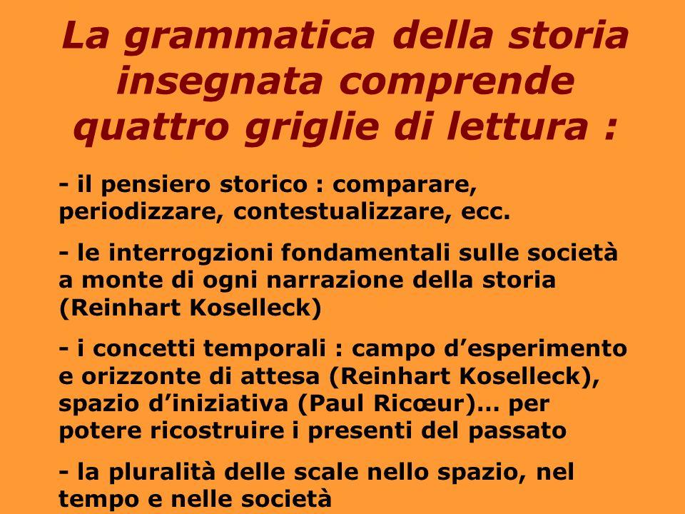 La grammatica della storia insegnata comprende quattro griglie di lettura : - il pensiero storico : comparare, periodizzare, contestualizzare, ecc.