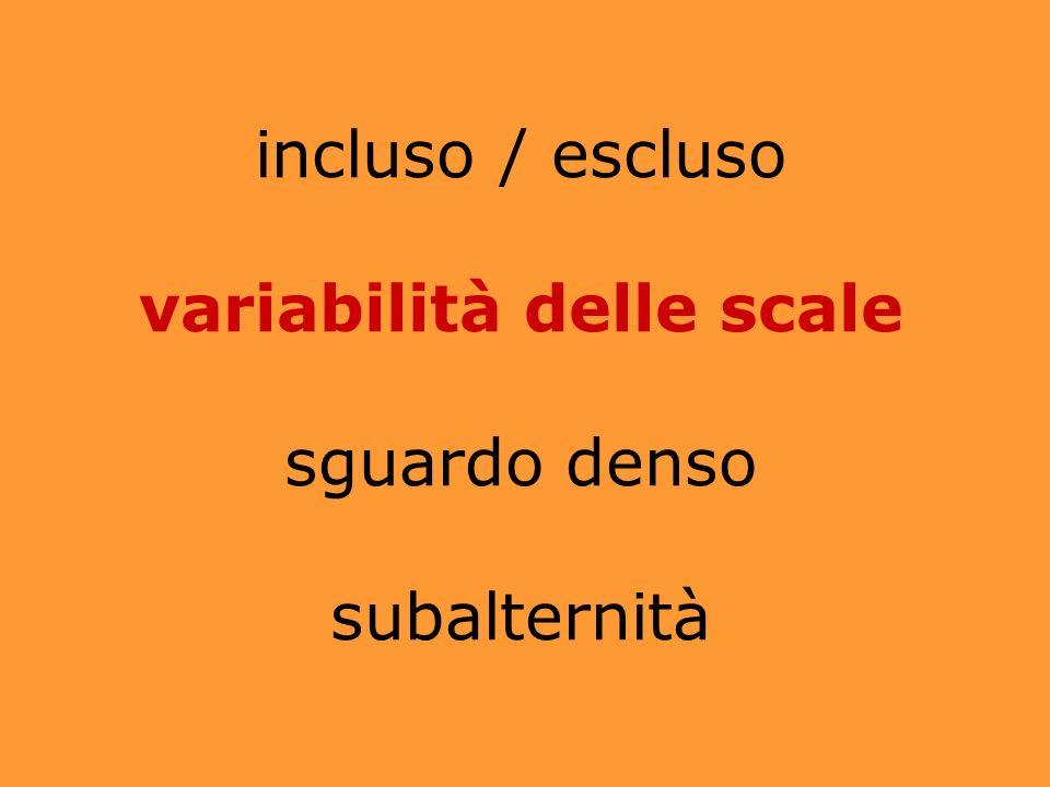 incluso / escluso variabilità delle scale sguardo denso subalternità
