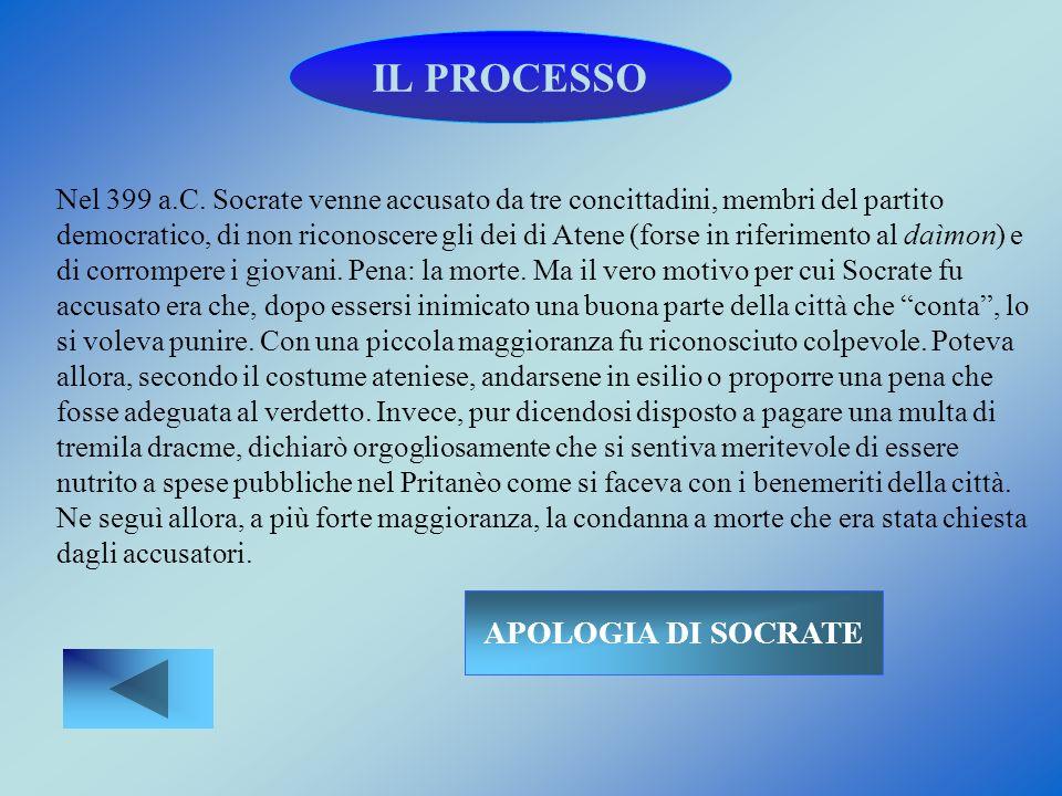 IL PROCESSO Nel 399 a.C. Socrate venne accusato da tre concittadini, membri del partito democratico, di non riconoscere gli dei di Atene (forse in rif