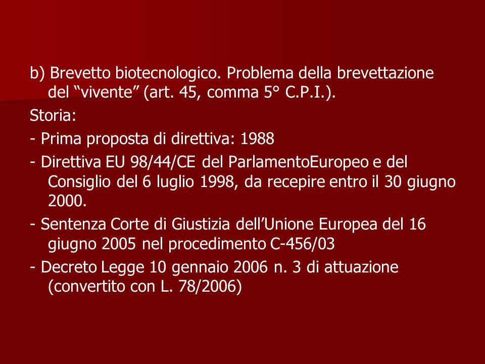 b) Brevetto biotecnologico. Problema della brevettazione del vivente (art. 45, comma 5° C.P.I.). Storia: - Prima proposta di direttiva: 1988 - Diretti