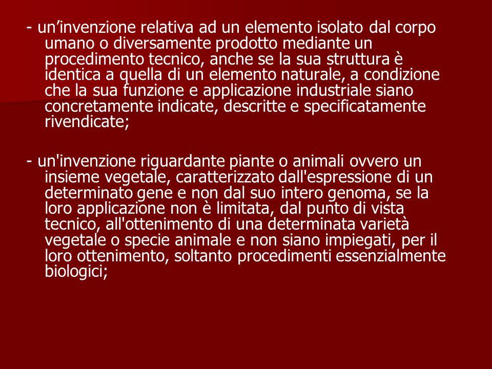 - uninvenzione relativa ad un elemento isolato dal corpo umano o diversamente prodotto mediante un procedimento tecnico, anche se la sua struttura è i
