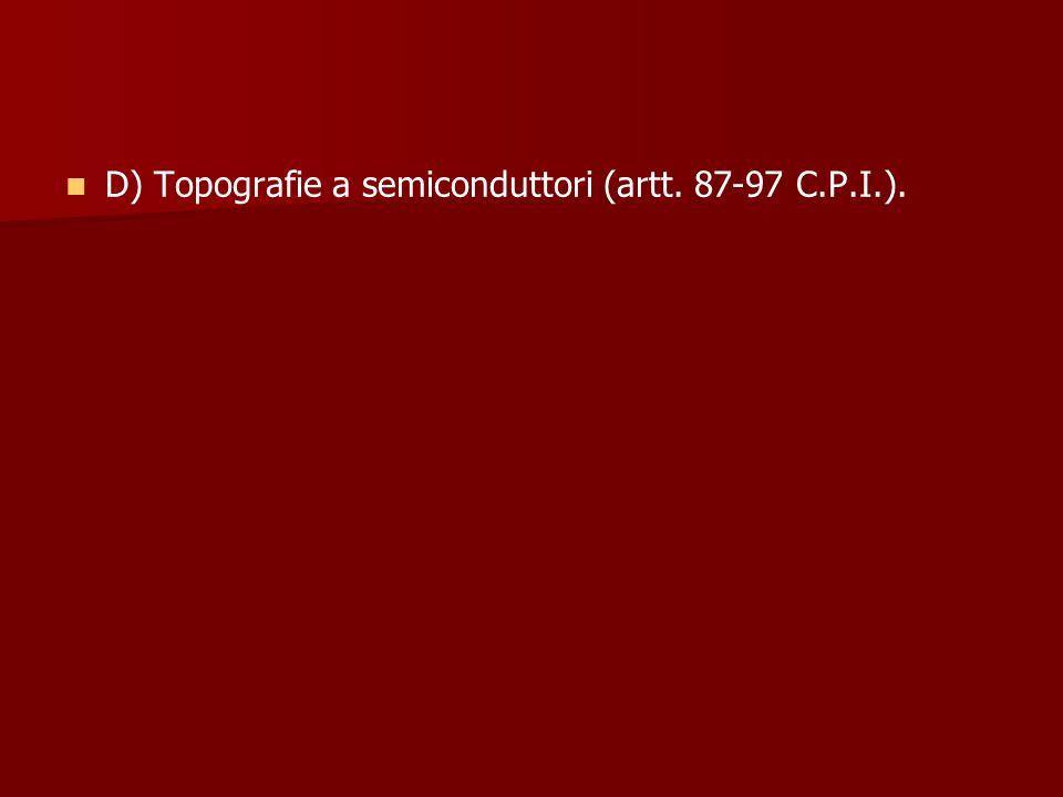 D) Topografie a semiconduttori (artt. 87-97 C.P.I.).