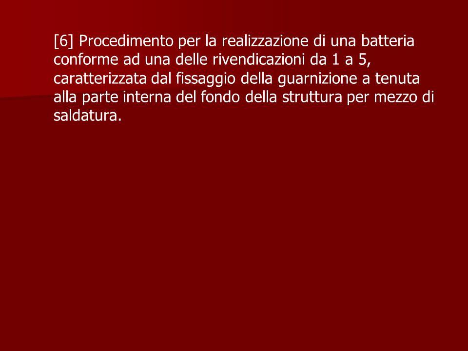 [6] Procedimento per la realizzazione di una batteria conforme ad una delle rivendicazioni da 1 a 5, caratterizzata dal fissaggio della guarnizione a