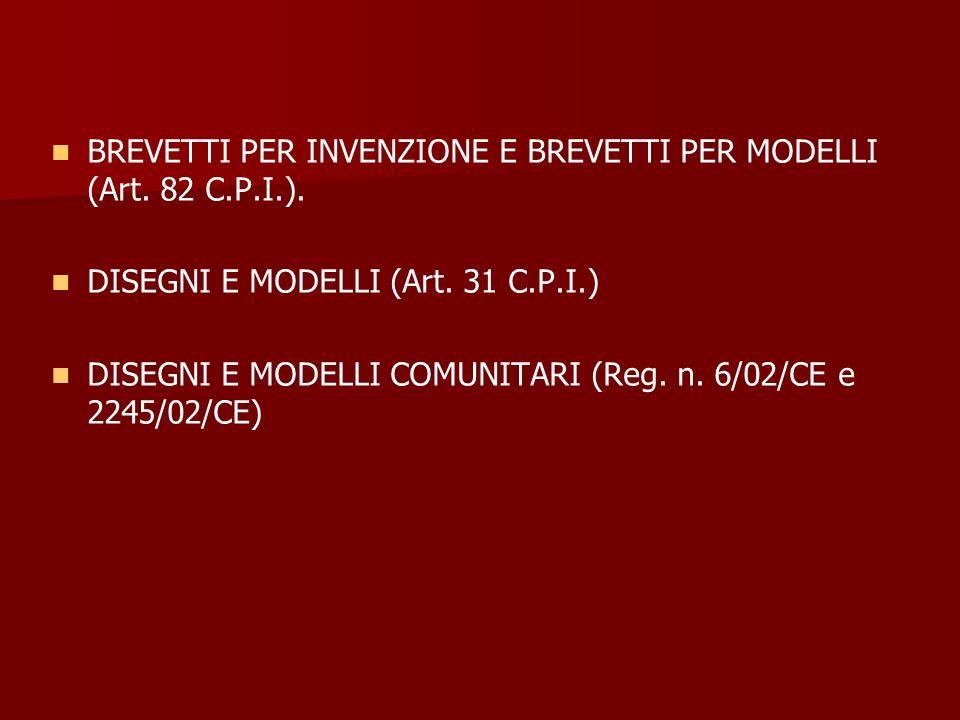BREVETTI PER INVENZIONE E BREVETTI PER MODELLI (Art. 82 C.P.I.). DISEGNI E MODELLI (Art. 31 C.P.I.) DISEGNI E MODELLI COMUNITARI (Reg. n. 6/02/CE e 22