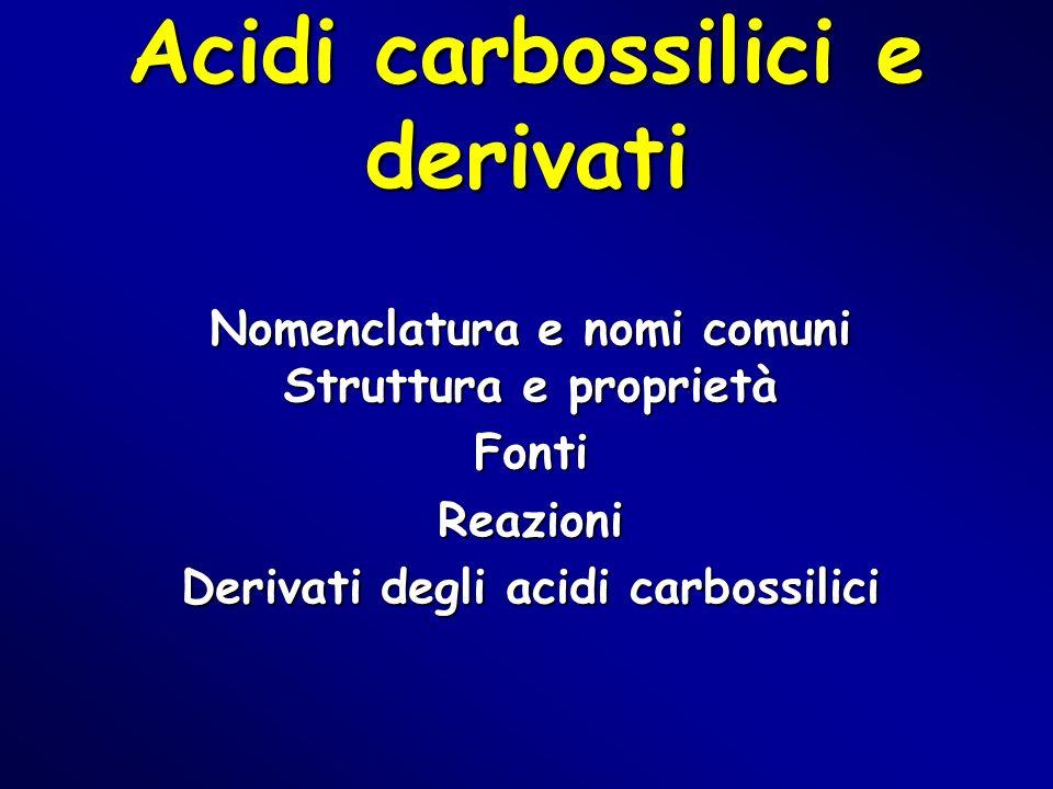 Acidi carbossilici e derivati Nomenclatura e nomi comuni Struttura e proprietà FontiReazioni Derivati degli acidi carbossilici