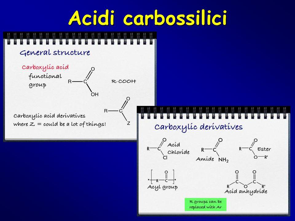 Composti carbonilici Acidi carbossilici Gli acidi carbossilici hanno un gruppo OH direttamente legato al carbonio sp2.