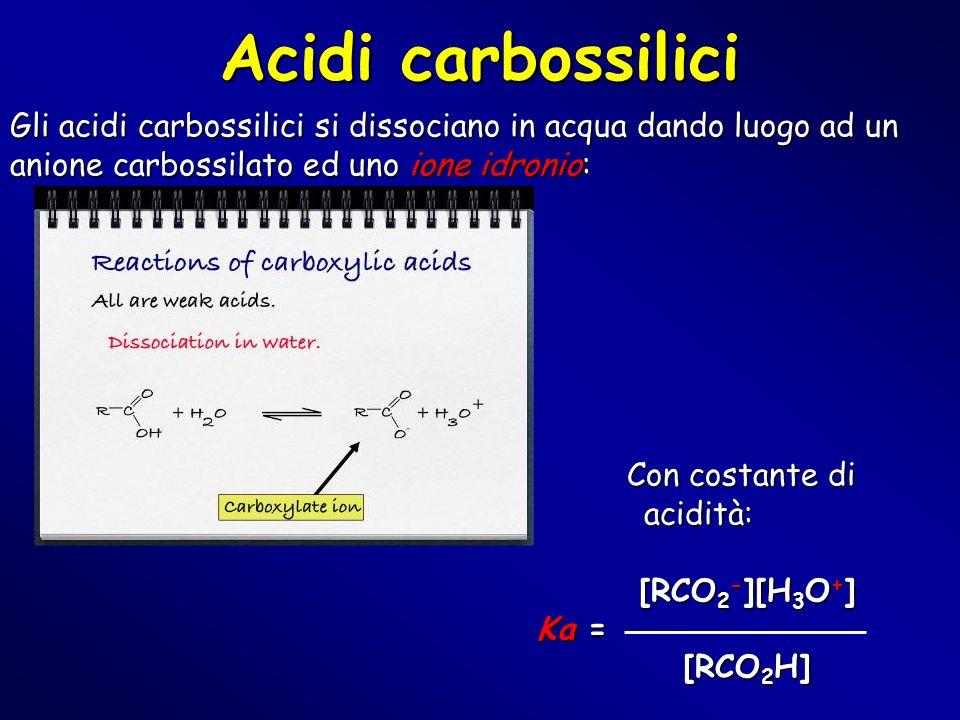 Gli acidi carbossilici si dissociano in acqua dando luogo ad un anione carbossilato ed uno ione idronio: Con costante di acidità: Con costante di acid