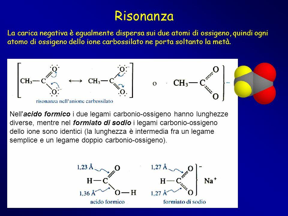 Risonanza Nell'acido formico i due legami carbonio-ossigeno hanno lunghezze diverse, mentre nel formiato di sodio i legami carbonio-ossigeno dello ion