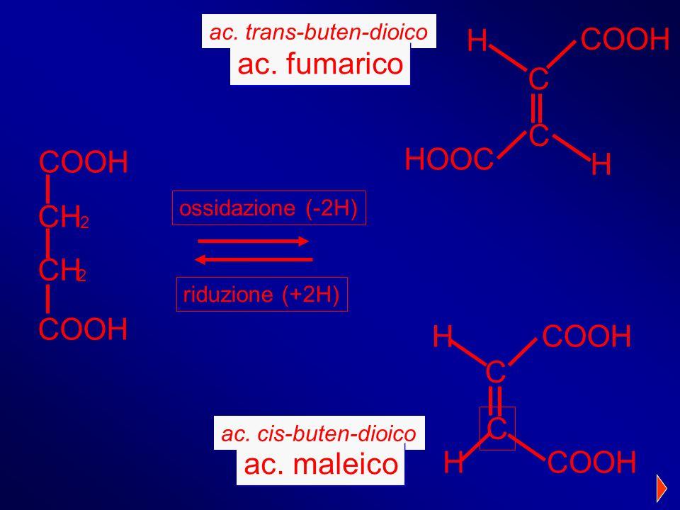 2 COOH CH 2 ac. cis-buten-dioico ac. maleico ossidazione (-2H) riduzione (+2H) ac. trans-buten-dioico ac. fumarico COOH H H C C HOOC COOH H H C C