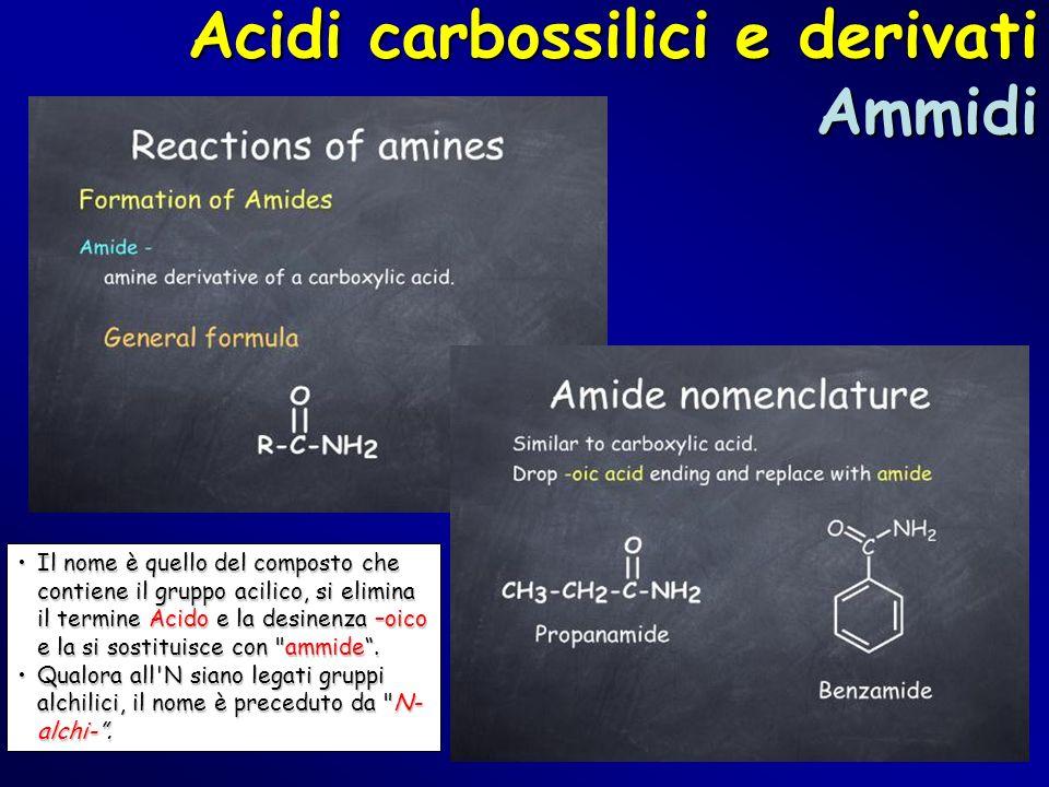 Acidi carbossilici e derivati Ammidi Il nome è quello del composto che contiene il gruppo acilico, si elimina il termine Acido e la desinenza –oico e