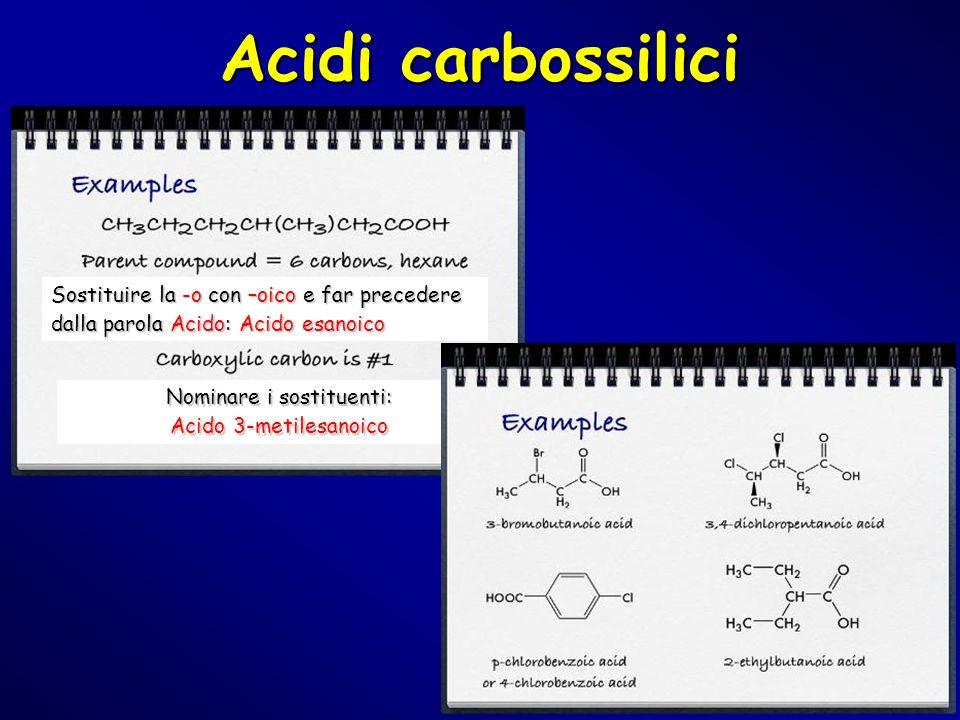Acidi carbossilici Sostituire la -o con –oico e far precedere dalla parola Acido: Acido esanoico Nominare i sostituenti: Acido 3-metilesanoico