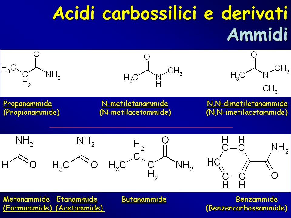 Propanammide N-metiletanammideN,N-dimetiletanammide (Propionammide) (N-metilacetammide) (N,N-imetilacetammide) Metanammide Etanammide Butanammide Benz