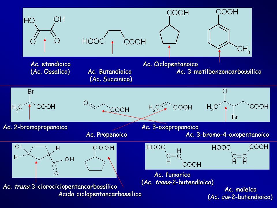 Ac. etandioico Ac. Ciclopentanoico (Ac. Ossalico) Ac. Butandioico Ac. 3-metilbenzencarbossilico (Ac. Succinico) (Ac. Succinico) Ac. 2-bromopropanoico