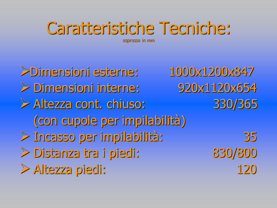 Caratteristiche Tecniche: espresse in mm Dimensioni esterne: 1000x1200x847 Dimensioni esterne: 1000x1200x847 Dimensioni interne: 920x1120x654 Dimensioni interne: 920x1120x654 Altezza cont.