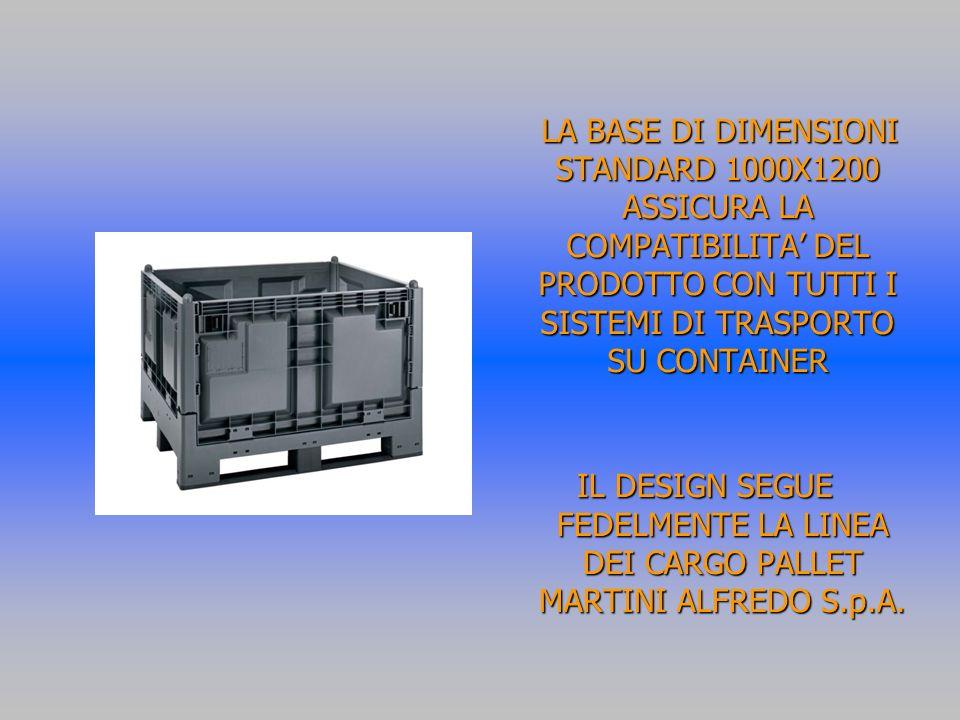 LA BASE DI DIMENSIONI STANDARD 1000X1200 ASSICURA LA COMPATIBILITA DEL PRODOTTO CON TUTTI I SISTEMI DI TRASPORTO SU CONTAINER LA BASE DI DIMENSIONI STANDARD 1000X1200 ASSICURA LA COMPATIBILITA DEL PRODOTTO CON TUTTI I SISTEMI DI TRASPORTO SU CONTAINER IL DESIGN SEGUE FEDELMENTE LA LINEA DEI CARGO PALLET MARTINI ALFREDO S.p.A.