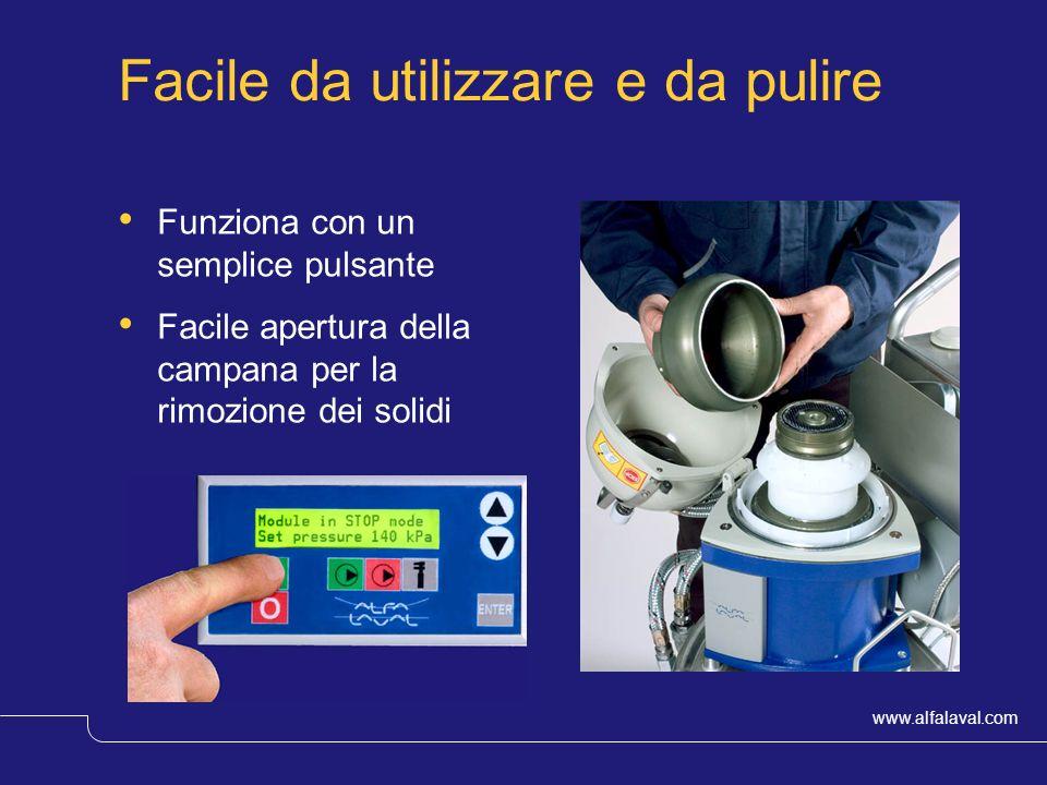 www.alfalaval.com © Alfa LavalSlide 10 Facile da utilizzare e da pulire Funziona con un semplice pulsante Facile apertura della campana per la rimozio