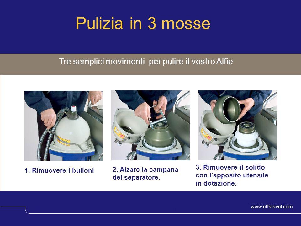 www.alfalaval.com © Alfa LavalSlide 11 Tre semplici movimenti per pulire il vostro Alfie Pulizia in 3 mosse 1. Rimuovere i bulloni 3. Rimuovere il sol