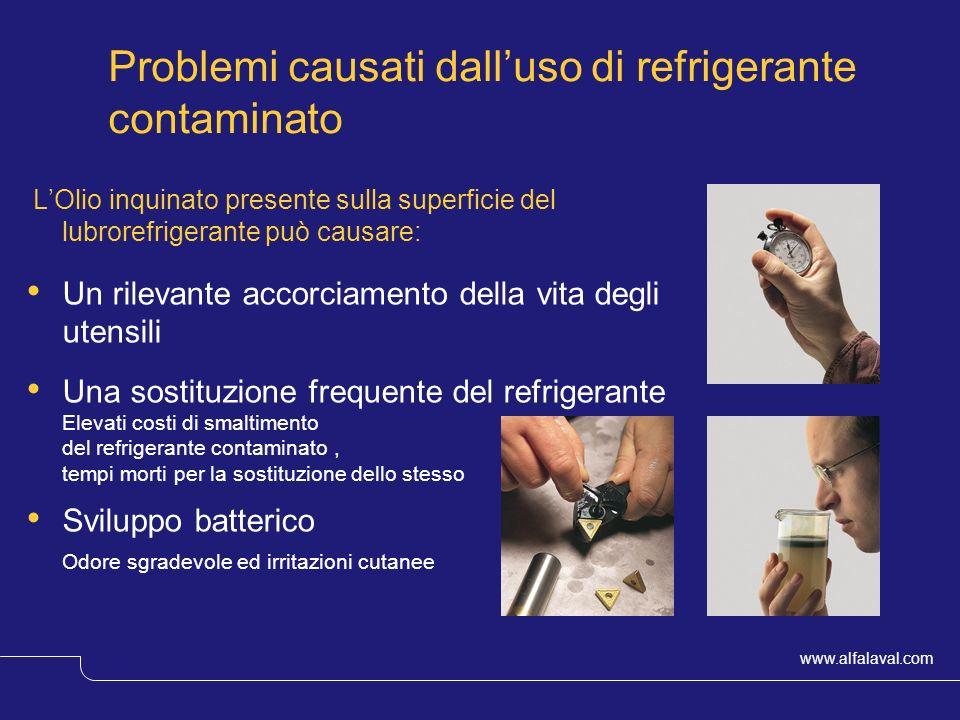 www.alfalaval.com © Alfa LavalSlide 4 LOlio inquinato presente sulla superficie del lubrorefrigerante può causare: Un rilevante accorciamento della vi