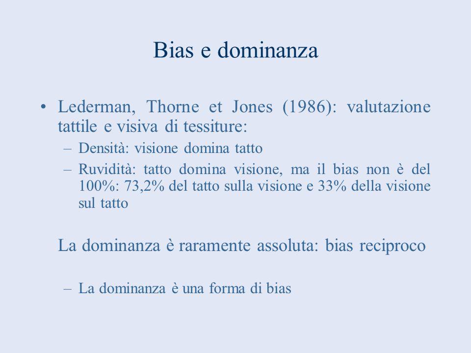 Bias e dominanza Lederman, Thorne et Jones (1986): valutazione tattile e visiva di tessiture: –Densità: visione domina tatto –Ruvidità: tatto domina v