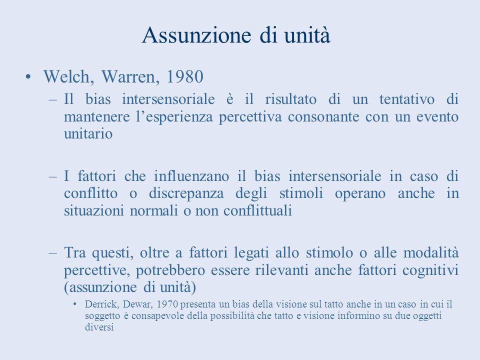 Assunzione di unità Welch, Warren, 1980 –Il bias intersensoriale è il risultato di un tentativo di mantenere lesperienza percettiva consonante con un