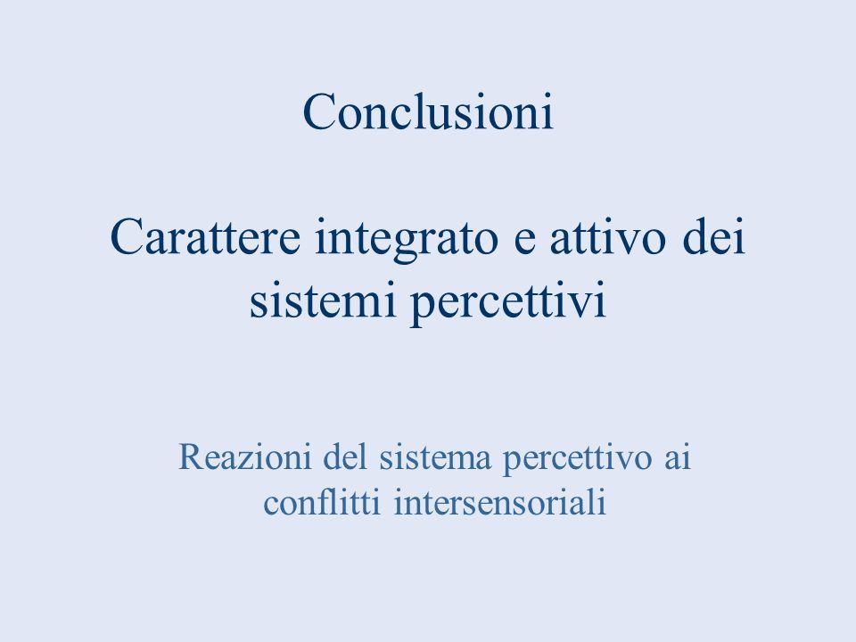 Conclusioni Carattere integrato e attivo dei sistemi percettivi Reazioni del sistema percettivo ai conflitti intersensoriali