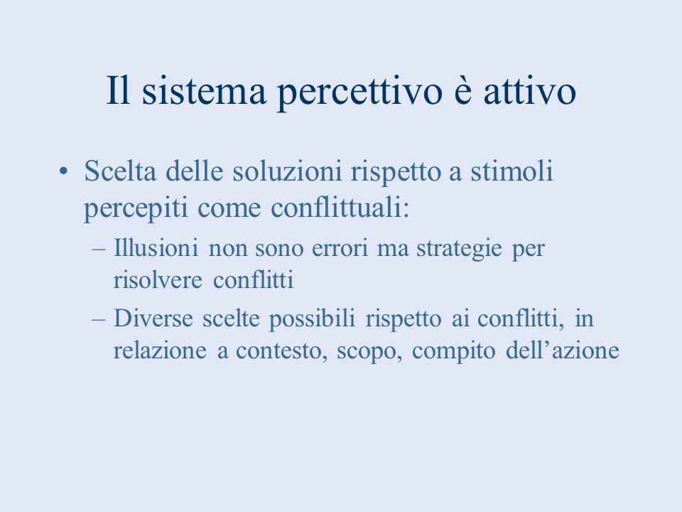 Il sistema percettivo è attivo Scelta delle soluzioni rispetto a stimoli percepiti come conflittuali: –Illusioni non sono errori ma strategie per riso