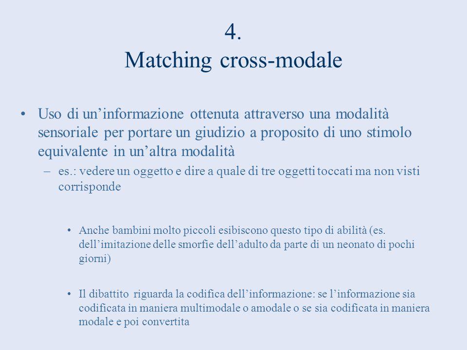 4. Matching cross-modale Uso di uninformazione ottenuta attraverso una modalità sensoriale per portare un giudizio a proposito di uno stimolo equivale