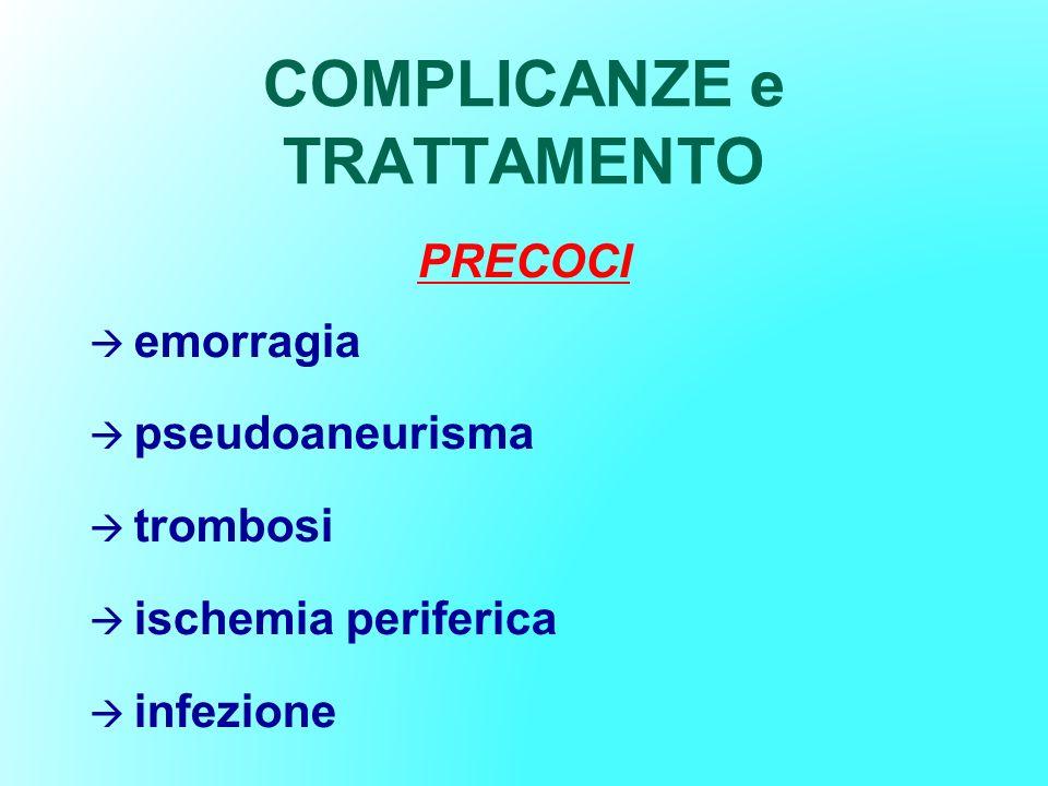 COMPLICANZE e TRATTAMENTO PRECOCI emorragia pseudoaneurisma trombosi ischemia periferica infezione