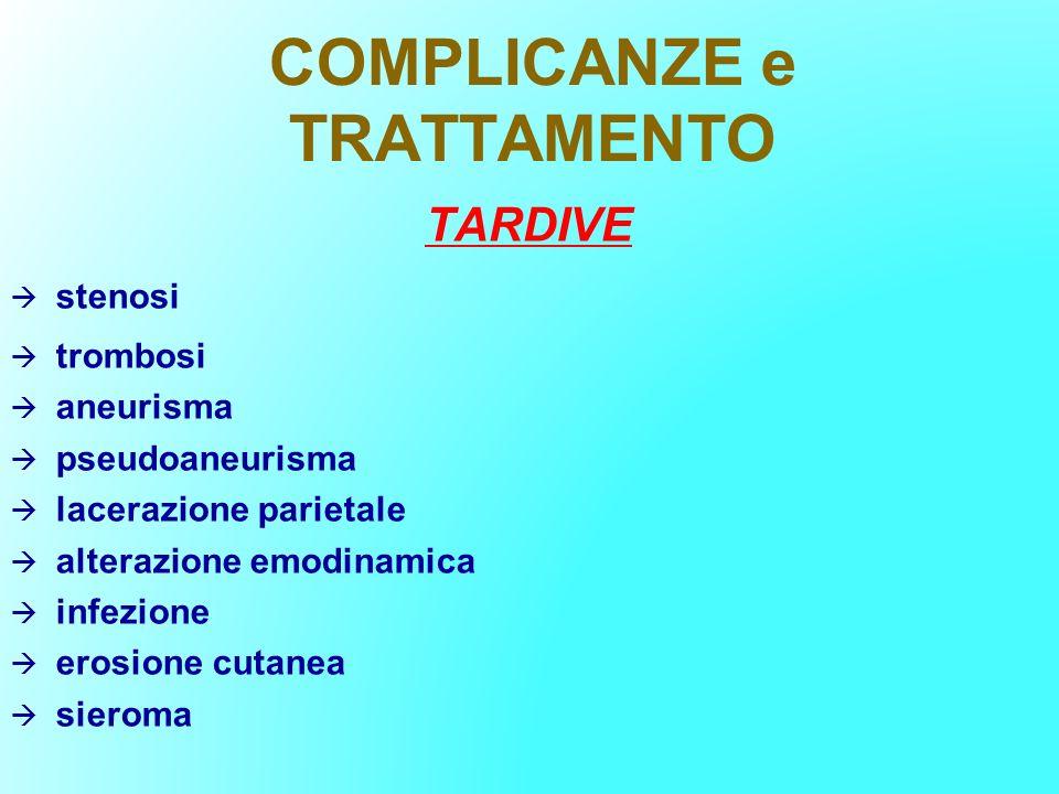 COMPLICANZE e TRATTAMENTO TARDIVE stenosi trombosi aneurisma pseudoaneurisma lacerazione parietale alterazione emodinamica infezione erosione cutanea