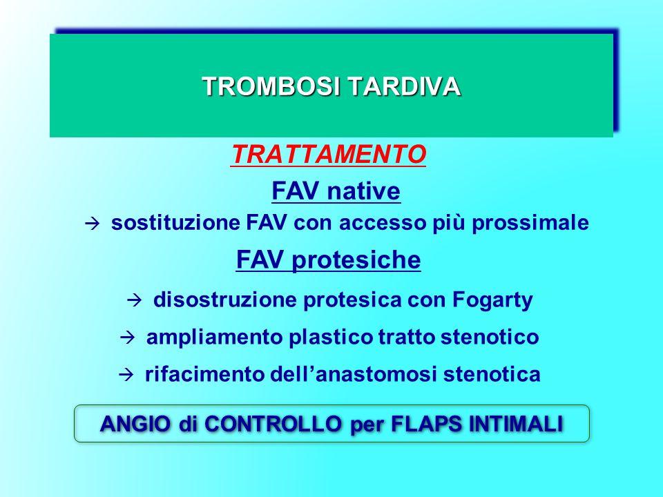 TROMBOSI TARDIVA TRATTAMENTO FAV native sostituzione FAV con accesso più prossimale FAV protesiche disostruzione protesica con Fogarty ampliamento pla