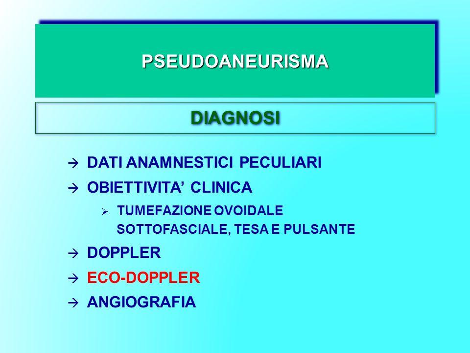 PSEUDOANEURISMAPSEUDOANEURISMA DIAGNOSI DATI ANAMNESTICI PECULIARI OBIETTIVITA CLINICA TUMEFAZIONE OVOIDALE SOTTOFASCIALE, TESA E PULSANTE DOPPLER ECO