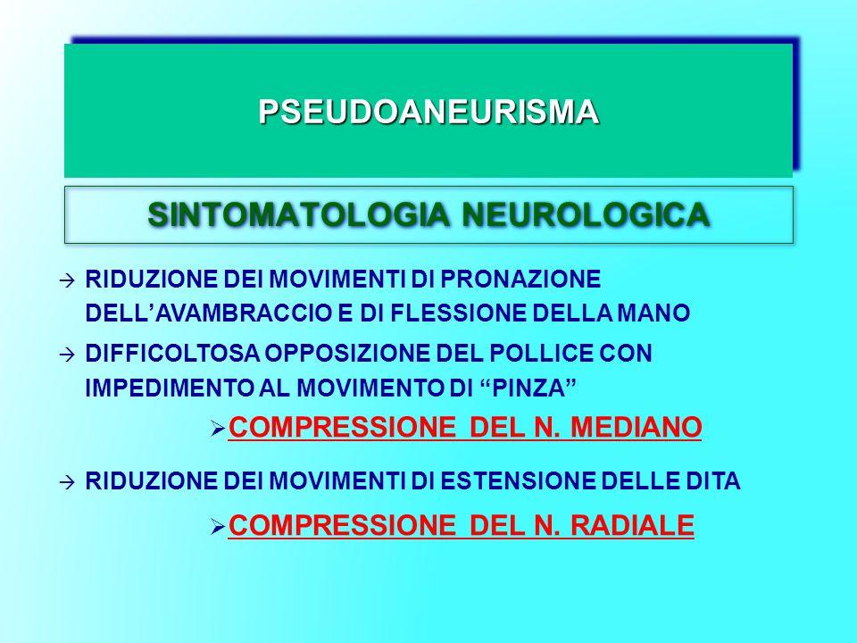 PSEUDOANEURISMAPSEUDOANEURISMA SINTOMATOLOGIA NEUROLOGICA RIDUZIONE DEI MOVIMENTI DI PRONAZIONE DELLAVAMBRACCIO E DI FLESSIONE DELLA MANO DIFFICOLTOSA