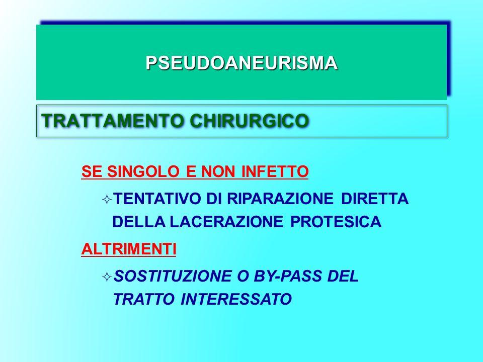 PSEUDOANEURISMAPSEUDOANEURISMA TRATTAMENTO CHIRURGICO SE SINGOLO E NON INFETTO TENTATIVO DI RIPARAZIONE DIRETTA DELLA LACERAZIONE PROTESICA ALTRIMENTI