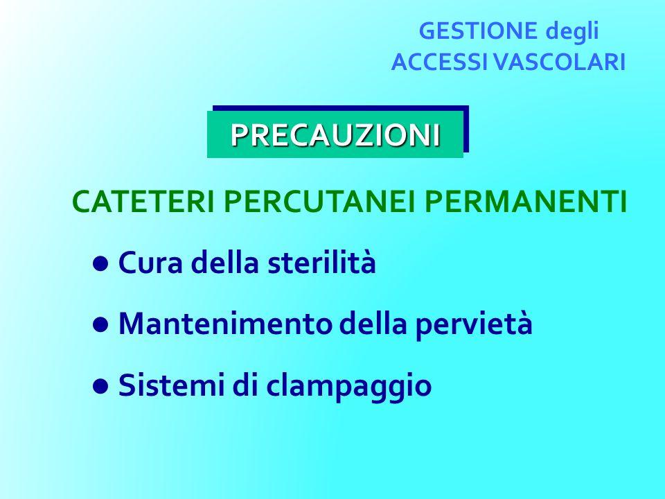 GESTIONE degli ACCESSI VASCOLARI CATETERI PERCUTANEI PERMANENTI Cura della sterilità Mantenimento della pervietà Sistemi di clampaggio PRECAUZIONIPREC