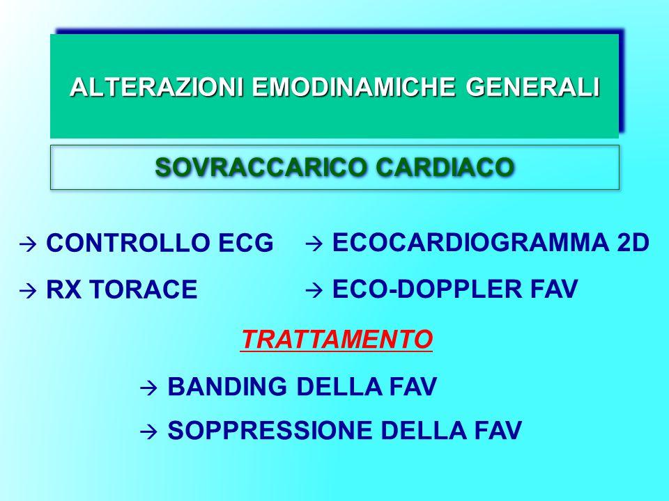 ALTERAZIONI EMODINAMICHE GENERALI SOVRACCARICO CARDIACO CONTROLLO ECG RX TORACE ECOCARDIOGRAMMA 2D ECO-DOPPLER FAV TRATTAMENTO BANDING DELLA FAV SOPPR