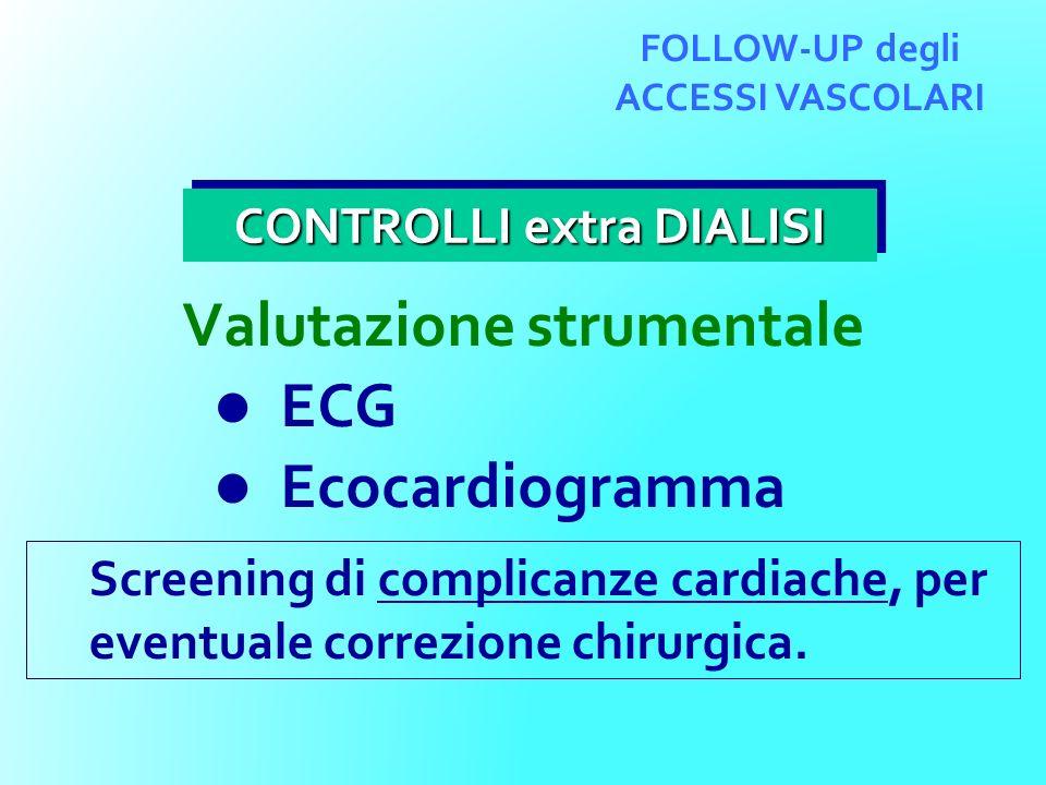 FOLLOW-UP degli ACCESSI VASCOLARI Valutazione strumentale ECG Ecocardiogramma CONTROLLI extra DIALISI Screening di complicanze cardiache, per eventual