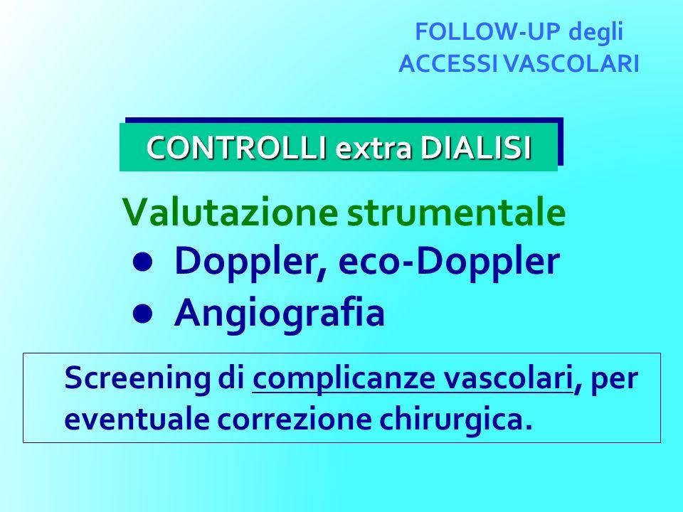 PERVIO ogni 6 mesi (routine) dopo 4 settimane (graft) dopo 2 settimane (PTA) ogni 3 mesi (complic.) ACCESSO VASCOLARE successo Ruolo delleco-Doppler nel controllo degli ACCESSI VASCOLARI OCCLUSO eco-color-Doppler insuccesso TROMBOLISI CHIRURGIA insuccesso successo P T A STENOSI < 50% Stenosi 50% flusso 600 ml/m Stenosi 50% flusso 600 ml/m NORMALE ANORMALE ANGIO GRAFIA > 50% FOLLOW-UP degli ACCESSI VASCOLARI