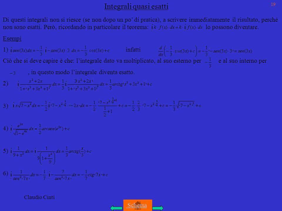 Claudio Cinti Integrali quasi esatti Di questi integrali non si riesce (se non dopo un po di pratica), a scrivere immediatamente il risultato, perché non sono esatti.