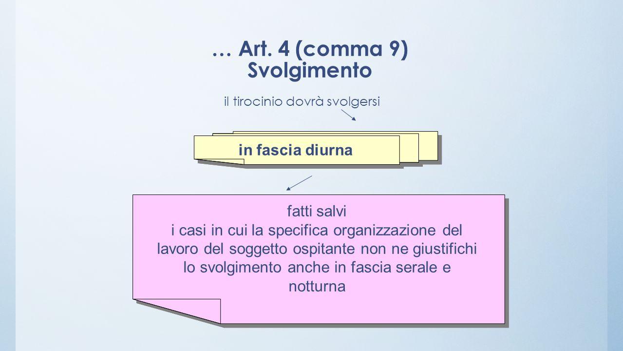 … Art. 4 (comma 9) Svolgimento il tirocinio dovrà svolgersi fatti salvi i casi in cui la specifica organizzazione del lavoro del soggetto ospitante no