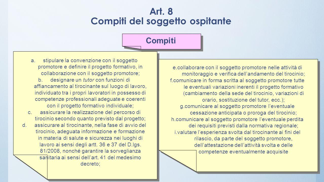 Art. 8 Compiti del soggetto ospitante Compiti a.stipulare la convenzione con il soggetto promotore e definire il progetto formativo, in collaborazione