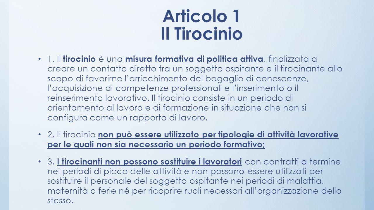 Articolo 1 Il Tirocinio 1. Il tirocinio è una misura formativa di politica attiva, finalizzata a creare un contatto diretto tra un soggetto ospitante