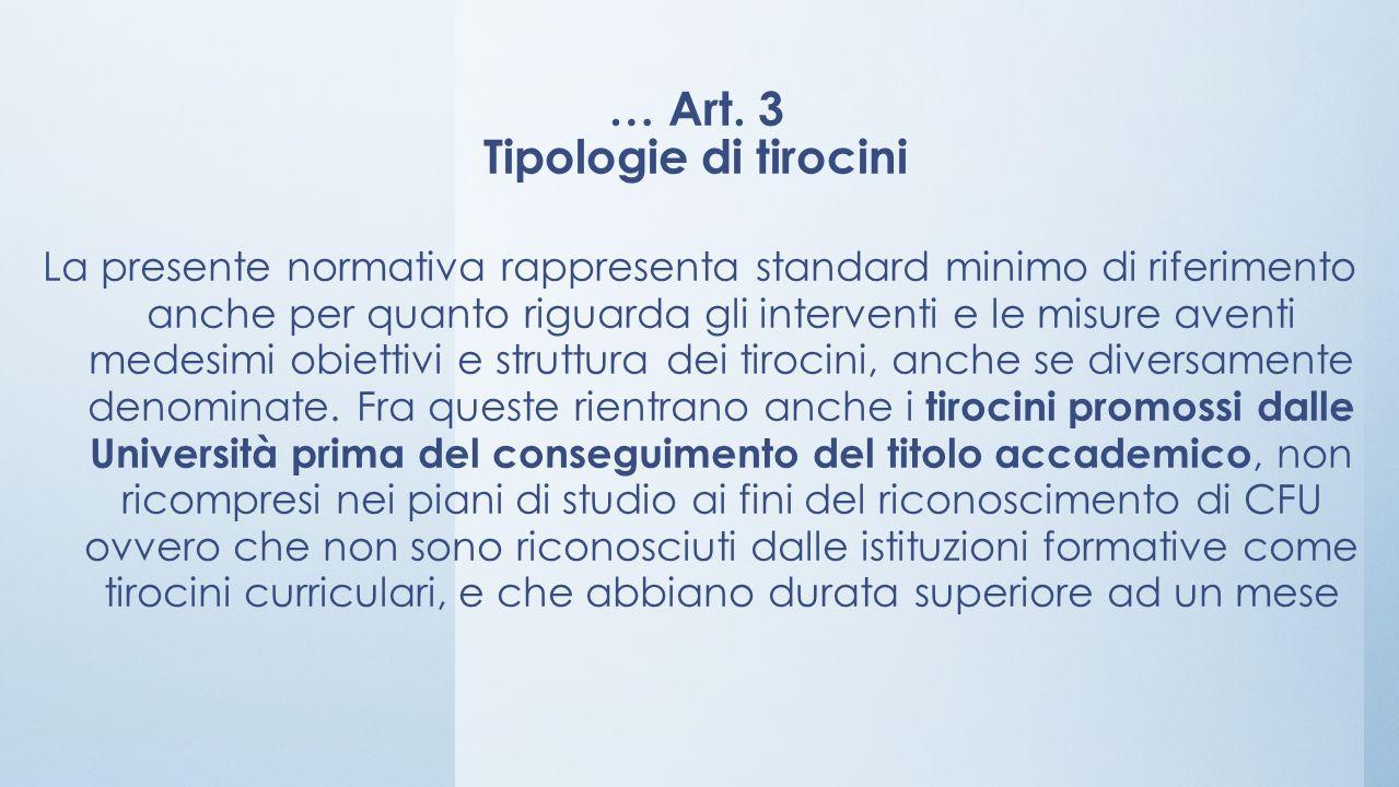 … Art. 3 Tipologie di tirocini La presente normativa rappresenta standard minimo di riferimento anche per quanto riguarda gli interventi e le misure a