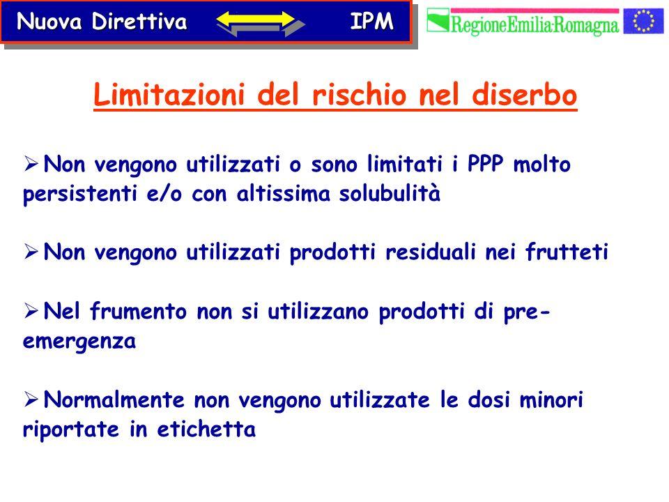 Non vengono utilizzati o sono limitati i PPP molto persistenti e/o con altissima solubulità Non vengono utilizzati prodotti residuali nei frutteti Nel