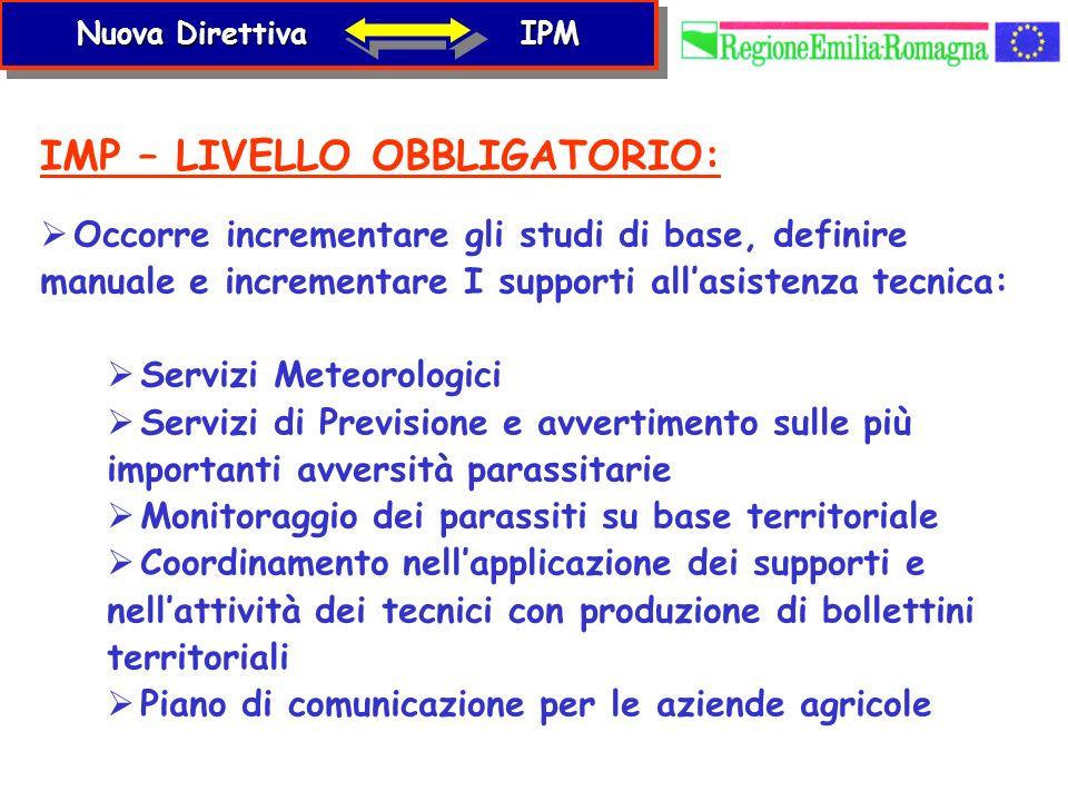 IMP – LIVELLO OBBLIGATORIO: Occorre incrementare gli studi di base, definire manuale e incrementare I supporti allasistenza tecnica: Servizi Meteorolo