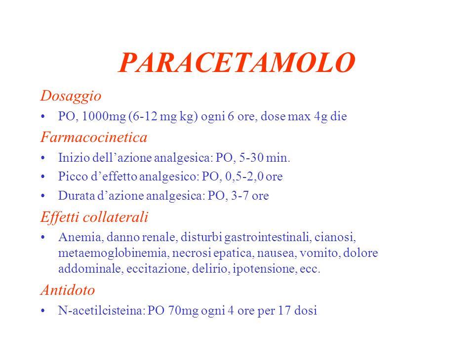 KETOROLAC Dosaggio IV/IM 30mg (0.5 mg/Kg) ogni 6 ore, dose max 120 mg/die ( 30mg IM di Ketorolac = 9 mg di morfina ) PO 10-20mg poi 10mg ogni 4-6 ore Farmacocinetica Inizio dellazione: IV, < 1 min.
