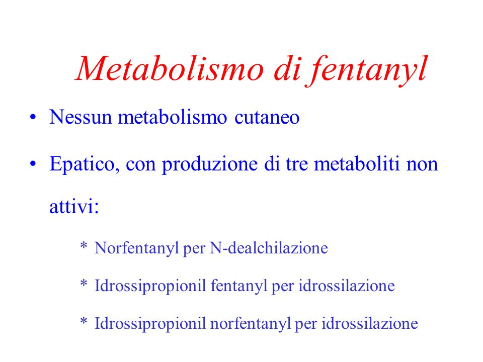 Età e farmacocinetica Assorbimento Letà aumenta significativamente il tempo dinizio del plateau plasmatico di fentanyl (9.2 vs 16.3 ore; p=0.001) Thompson et al., Proceed British Pain Soc Meet, 1996