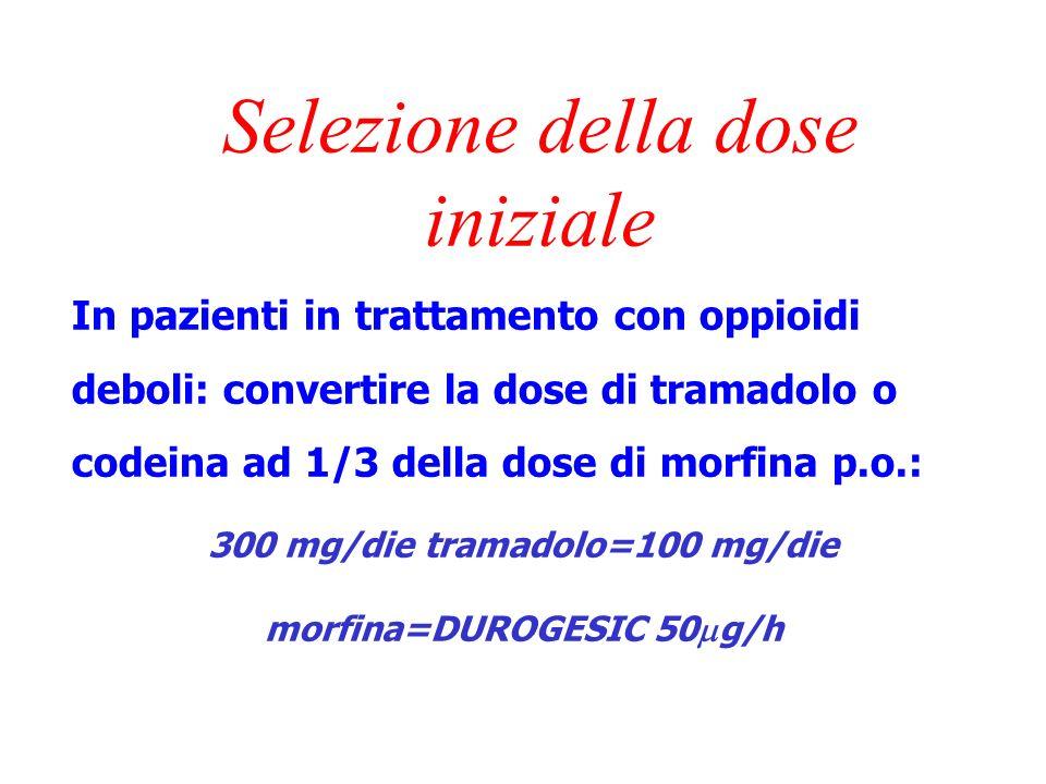 Selezione della dose iniziale In pazienti naive agli oppioidi si consiglia di partire con la dose più bassa: DUROGESIC 25 g/h