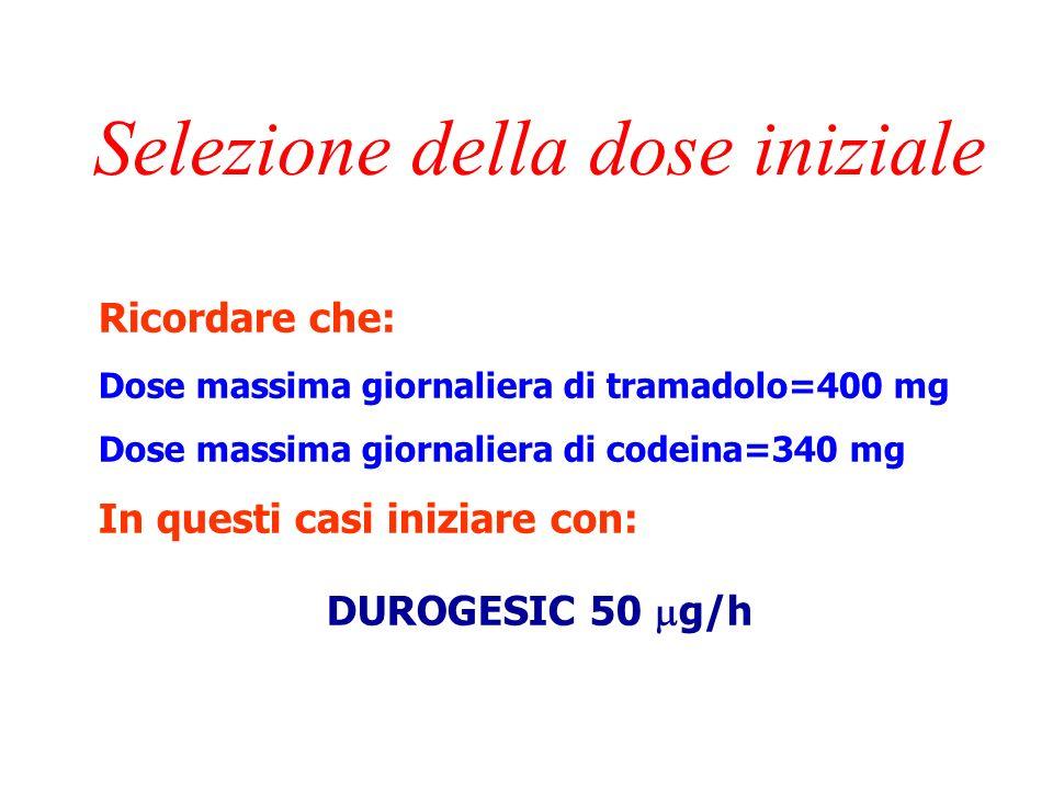 Selezione della dose iniziale In pazienti in trattamento con oppioidi deboli: convertire la dose di tramadolo o codeina ad 1/3 della dose di morfina p.o.: 300 mg/die tramadolo=100 mg/die morfina=DUROGESIC 50 g/h