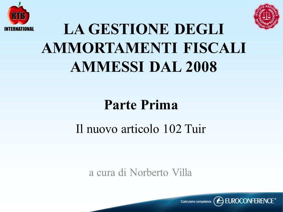 LA GESTIONE DEGLI AMMORTAMENTI FISCALI AMMESSI DAL 2008 a cura di Norberto Villa Parte Prima Il nuovo articolo 102 Tuir