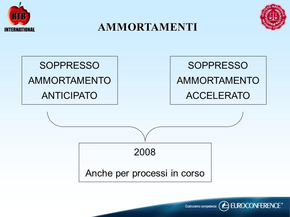 AMMORTAMENTI SOPPRESSO AMMORTAMENTO ANTICIPATO SOPPRESSO AMMORTAMENTO ACCELERATO 2008 Anche per processi in corso